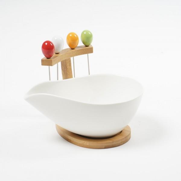 """Schale """"Becco"""", mit Cocktailspießen, weiß, H 9 cm, B 10 cm, L 18 cm"""
