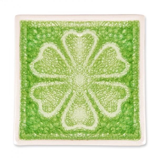 """Untersetzer """"Kleeblatt"""", grün, L 10 cm, B 10 cm, H 1 cm"""