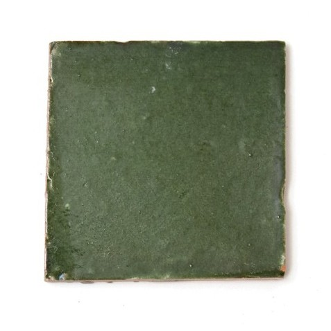 handglasierte Kachel 'vert jade', olivgrün, L 10 cm, B 10 cm