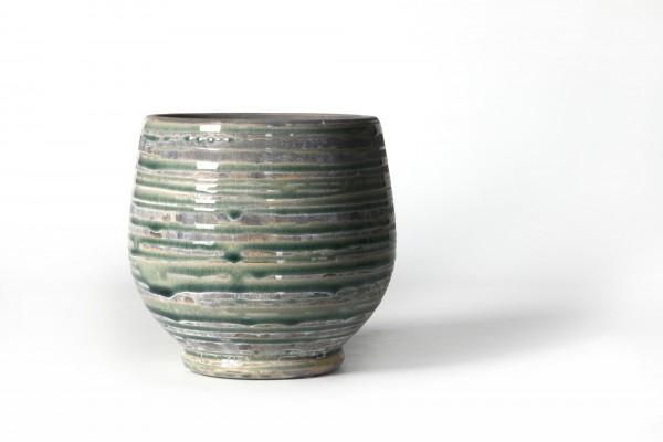 Pflanztopf geringelt, aus Steingut, grün/grau, Ø 16 cm, H 15 cm