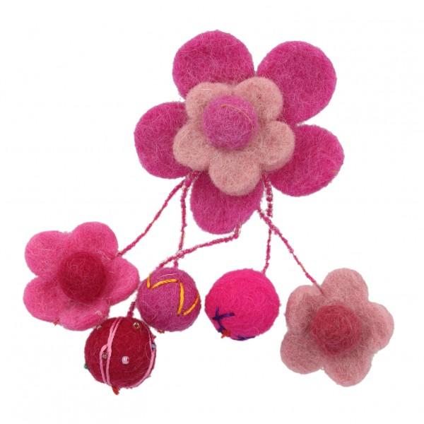 """Brosche """"Blume"""" mit hängenden Kugeln, lila/rosa, Ø 16 cm"""