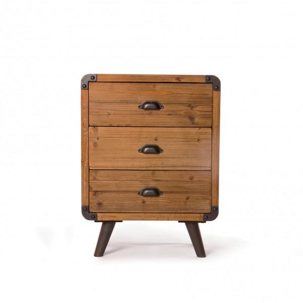 Kommode 'Oldham', mit 3 Schubladen, braun, L 36 cm, B 54 cm, H 72 cm