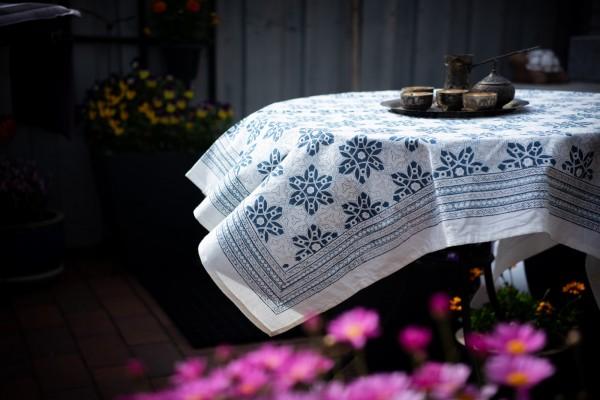 Tischdecke Mandala, beige, blaugrau, L 100 cm, B 100 cm