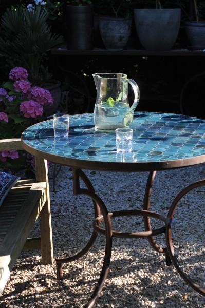 Mosaiktisch, ozeanblau, Ø 60 cm, H 75 cm