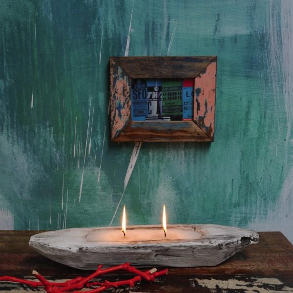 """Kerzenschiff """"Primitiv"""" klein, weiß/braun, L 45 cm, B 13 cm, H 7 cm"""
