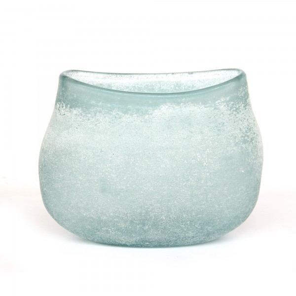 Glasvase 'frost', hellblau, T 12 cm, B 23 cm, H 19 cm