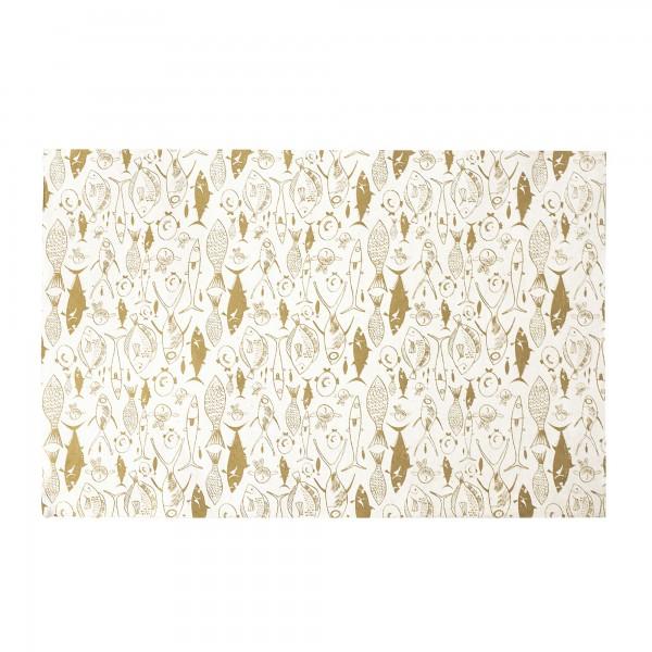 Geschenkpapier 'Fische', weiß, gold, L 76 cm, B 51 cm