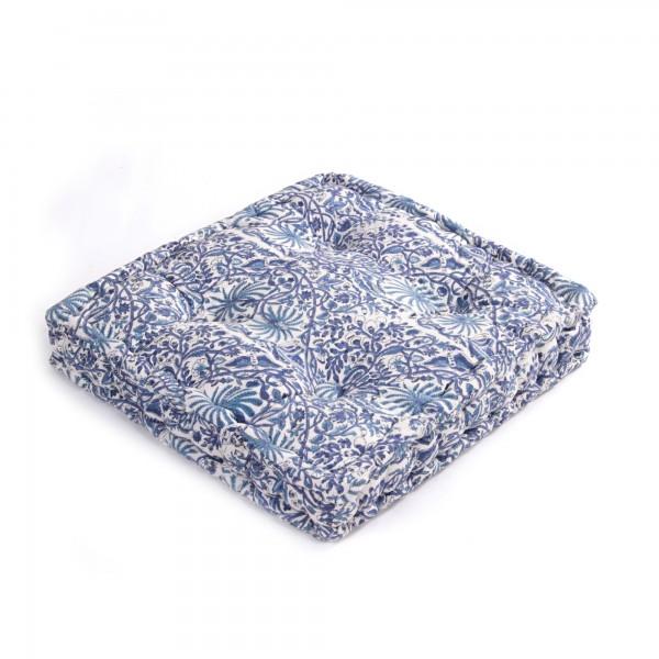 "Sitzkissen ""Zyana"", blau/weiß, L 50 cm, B 50 cm, H 8 cm"