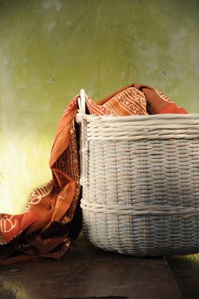 Bambuskorb mit Henkeln, natur, Größe S, Ø 43 cm, H 38 cm