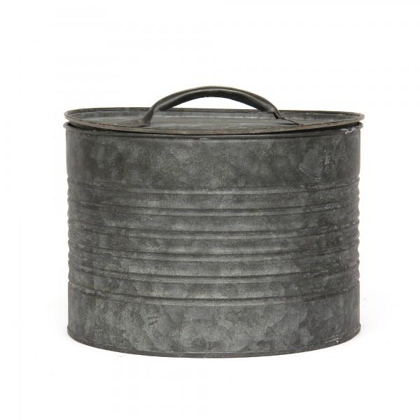 runde Deckeldose L, grau, Ø 20,5 cm, H 14 cm