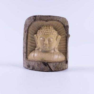 handgeschnitzter Buddha in Holzstamm, natur, B 9 cm, H 10 cm