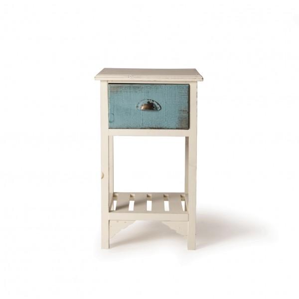 """Schränkchen """"Lola"""" mit Schublade, antik-weiß/blau, T 32 cm, B 35 cm, H 58 cm"""