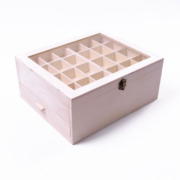 Sortierkasten 'Petto' mit 1 Schublade und 48 Sortierfächern, natur, L 25 cm, B 30 cm, H 13 cm