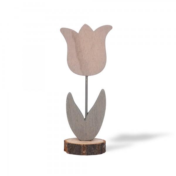 Holzblume stehend, grau, T 7 cm, B 5 cm, H 17 cm