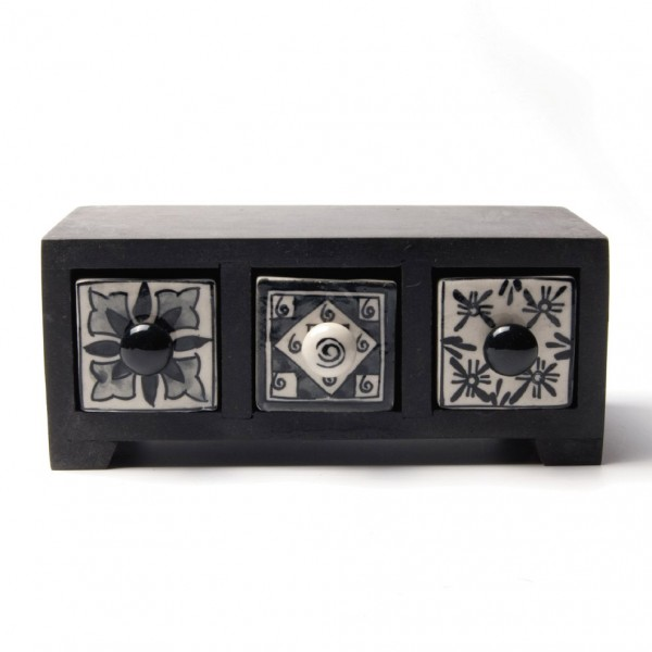 Schmucktruhe mit 3 Schubladen, schwarz/weiß, L 10 cm, B 21 cm, H 9 cm
