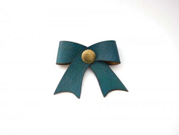 Leder-Kabelschleife, blau, T 5 cm, B 5 cm