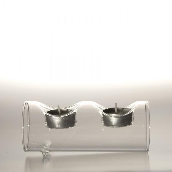 """Teelichthalter """"Tarnby"""" aus Glas, 2 Teelichter, B 16 cm, H 7 cm"""