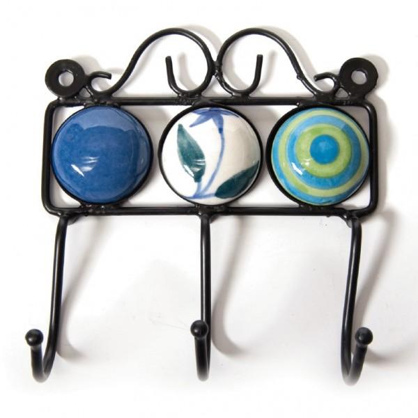 Wandhaken 3fach, blau/weiß/grün, L 4,5 cm, B 14,5 cm, H 15 cm