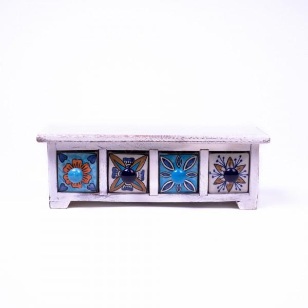 Schmucktruhe mit 4 Schubladen, blau/weiß, L 10 cm, B 30 cm, H 10 cm