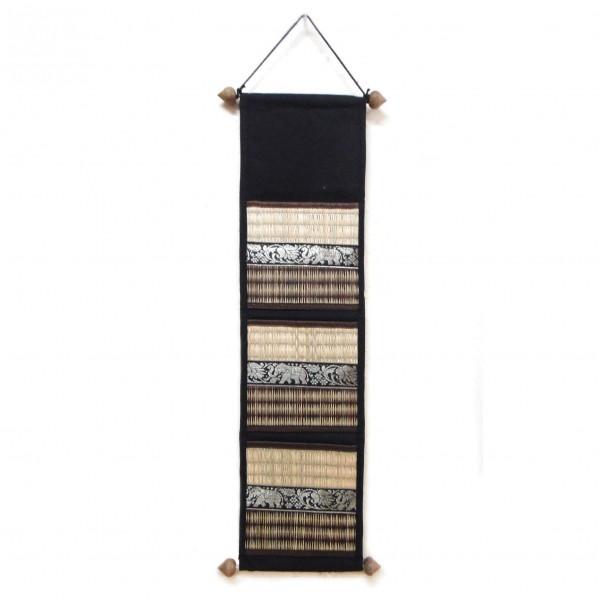 Wandorganizer aus Riedgras, braun/natur, B 18 cm, H 69 cm