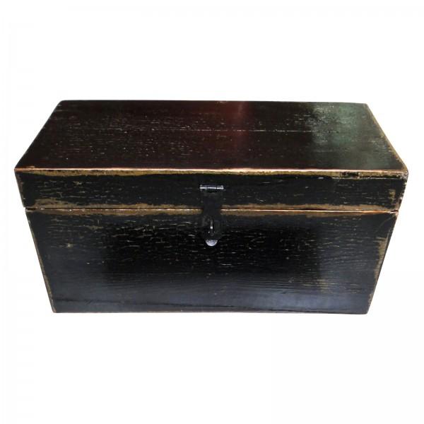 Holztruhe, schwarz, L 18 cm, B 37 cm, H 19 cm