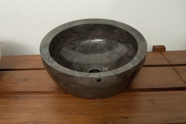 Marmorwaschbecken 'tief' schwarz, Ø 40 cm, H 20 cm