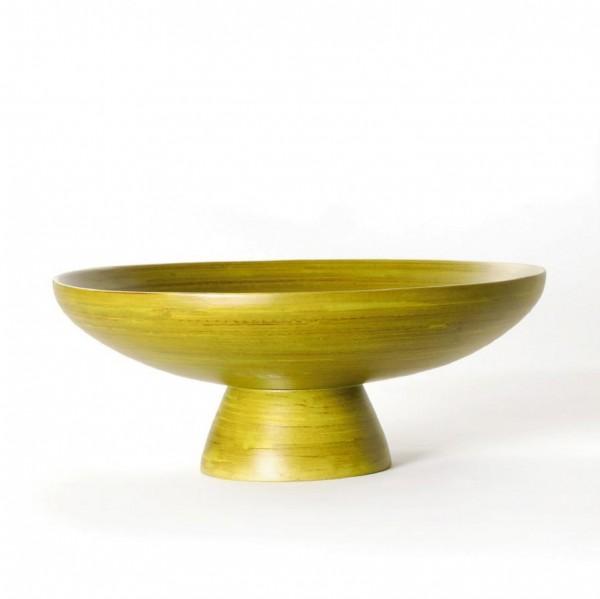 Bambusschale rund mit Fuß, grün, H 10 cm, Ø 24,5 cm