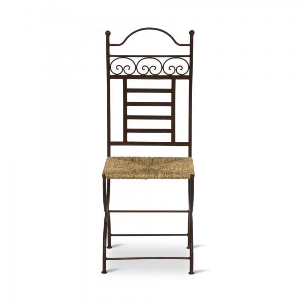 Eisenstuhl 'Slimani' mit Seegras-Sitzfläche, T 40 cm, B 40 cm, H 105 cm