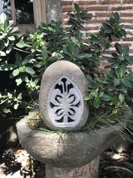 Gartenleuchte mit Ornament, natur, T 14 - 18 cm, B 14 - 18 cm, H 26 - 30 cm