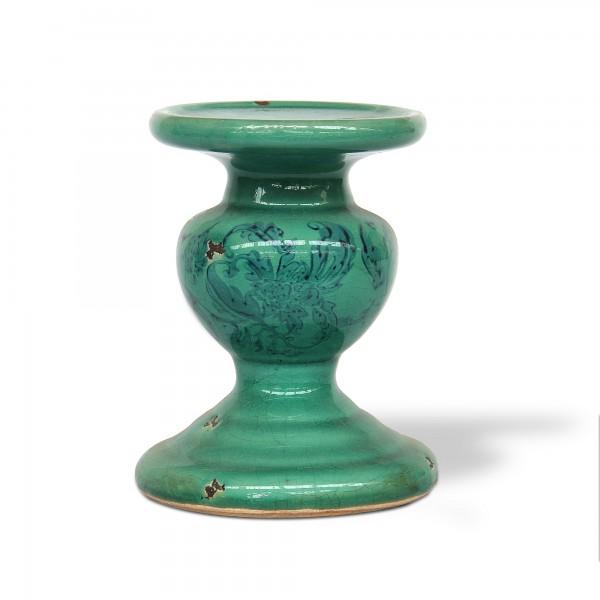 Kerzenhalter Keramik, mintgrün, Ø 13 cm, H 18 cm