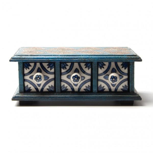 Schmucktruhe mit 3 Schubladen, blau/weiß/türkis, L 10 cm, B 24 cm, H 8,5 cm