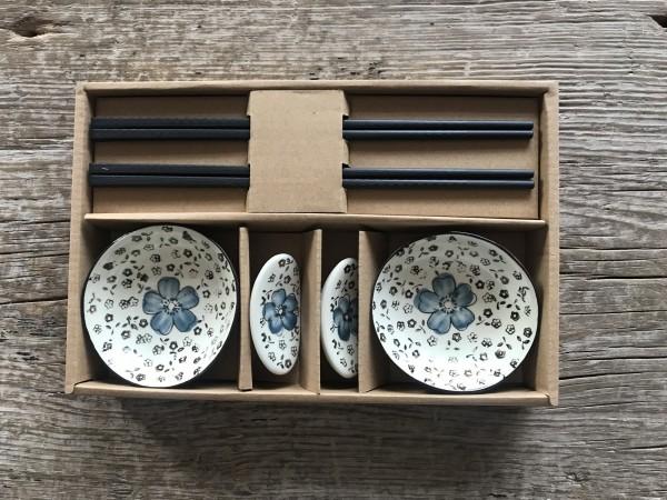 Geschirr-Set mit Stäbchen, T 25,8 cm, B 17,2 cm, H 4,2 cm