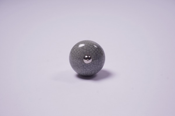 Keramik Möbelknopf rund, handglasiert, grau, Ø 3,5 cm