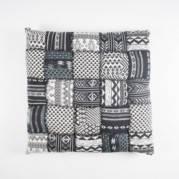Kissen quadratisch, schwarz/weiß, L 70 cm, B 70 cm
