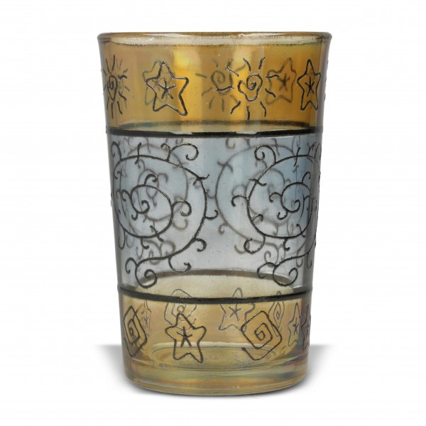 Kerzenglas, gelb/blau, H 9,5 cm, Ø 6 cm