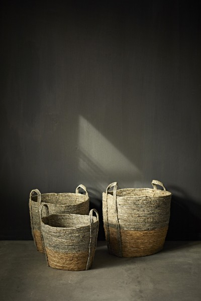 Korb 'Gufo' L, grau, natur, Ø 50 cm, H 39 cm