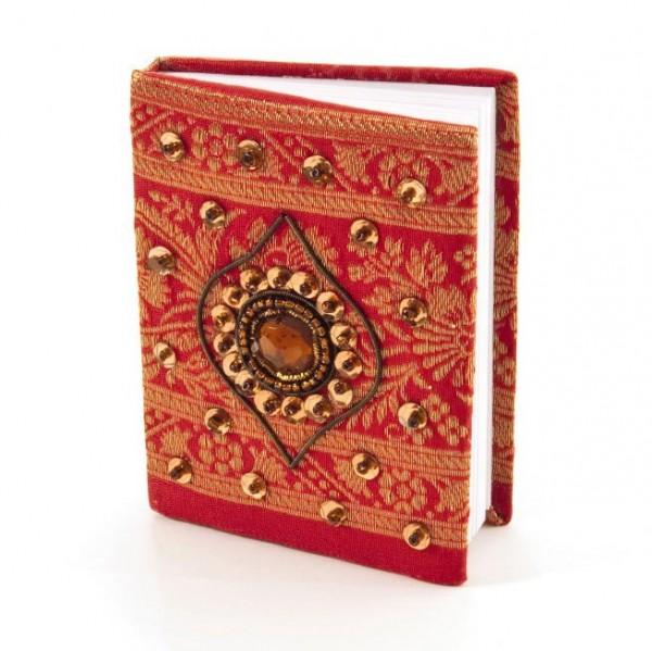 Tagebuch handbestickt und mit Glasperlen verziert, rot, B 8,5 cm, H 11 cm