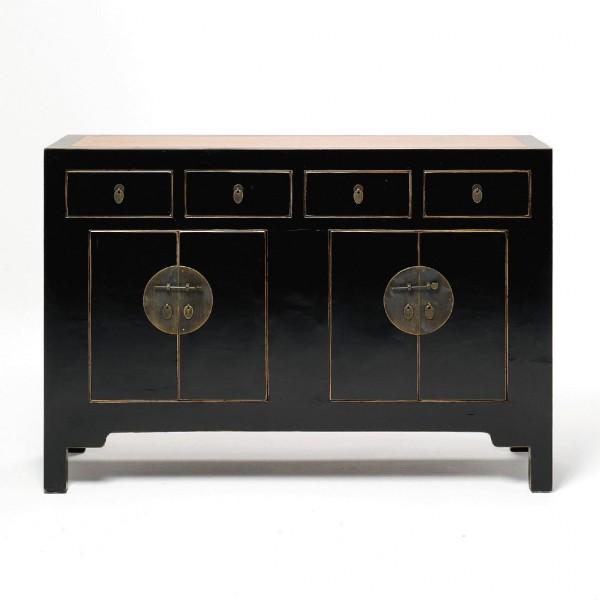 Zwillingskommode mit vier Türen und Schubladen, schwarz, H 90 cm, B 133 cm, T 47 cm