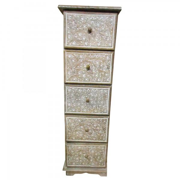 Schatulle mit 5 Schubladen, braun/weiß, L 15 cm, B 25 cm, H 80 cm