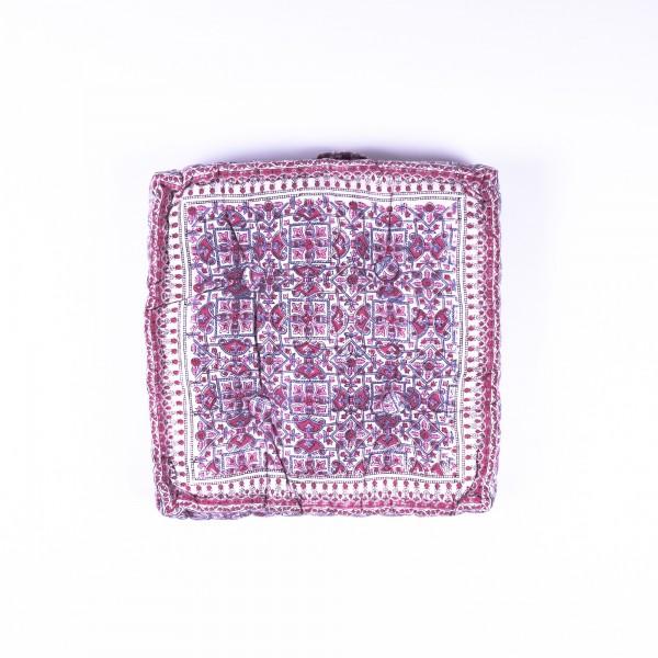 Sitzkissen 'Pink Grey Flower', manuelles Blockprintverfahren, L 40 cm, B 40 cm, H 8 cm