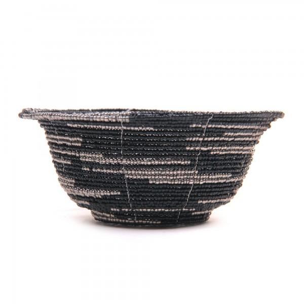Glasperlenschale, schwarz, silber, Ø 13 cm, H 6 cm