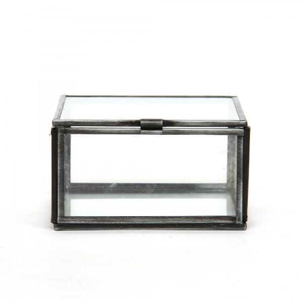 Glasschatulle L, dunkelgrau, T 9 cm, B 9 cm, H 5 cm