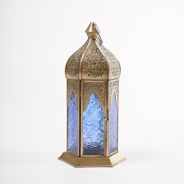 """Laterne """"Oriental"""", messing/blau, Ø 12 cm, H 25 cm"""