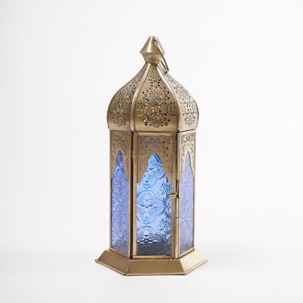 Laterne 'Habib', messing, blau, Ø 12 cm, H 25 cm