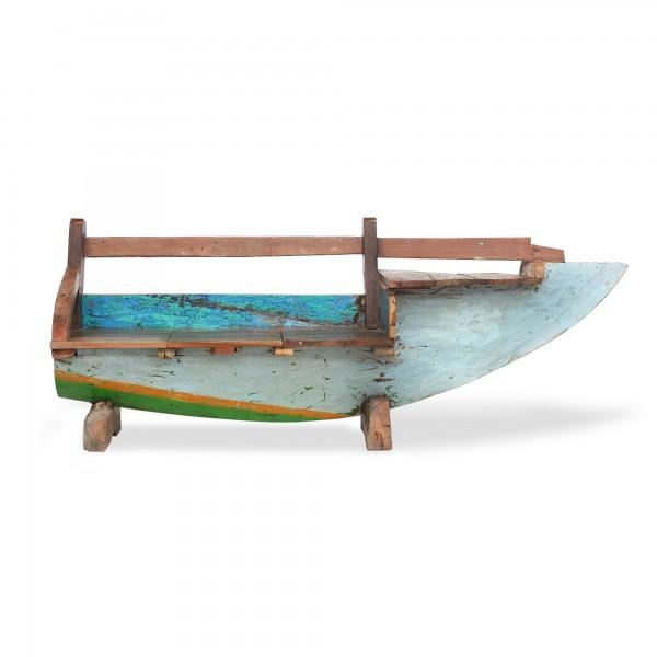 Bootsbank aus halbem Boot, klein, aus alten Bali-Booten