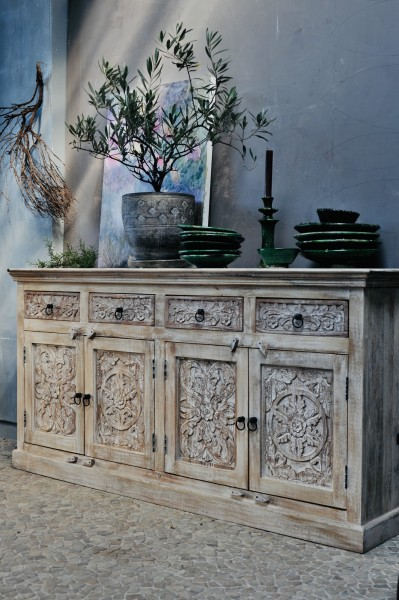 Sideboard 'Germois', braun, weiß gekälkt, T 40 cm, B 178 cm, H 88 cm