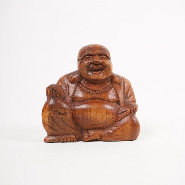 Sitzender Buddha, aus Suarholz, braun, B 8 cm, H 9 cm