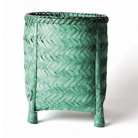 Wäschekorb aus Bambus S, grün, Ø 21 cm, H 25 cm