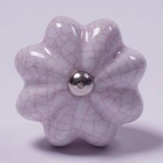 """Keramik Möbelknopf """"Blume"""", handglasiert, weiß, Ø 4 cm"""
