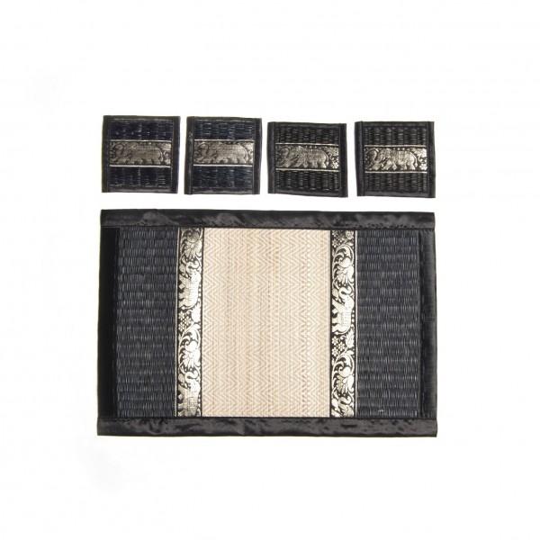 4er Tischset inklusive Untersetzer, schwarz, T 30 cm, B 45 cm